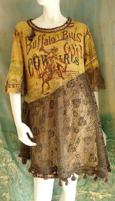 Altered couture cowgirl  dress Reconstructed clothing  Upcycled  t-shirt tunic refashioned skirt dress. $57.00, via Etsy.