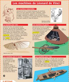 Fiche exposés : Les machines de Léonard de Vinci French Teacher, French Class, History Memes, Art History, Les Inventions, French Words Quotes, Flags Europe, French History, French Language Learning