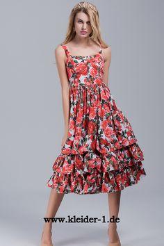 Damen Sommerrkleid mit Rote Rosen