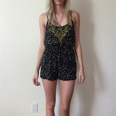 Urban Outfitters Romper Such a cute romper! In great condition made out of a crepe material! Really light and perfect for summer! Urban Outfitters Tops