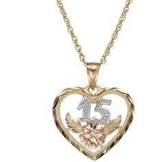 14k Gold Tri-Tone ''15'' Quinceanera Heart Pendant Necklace (Yellow) ($325) ❤ liked on Polyvore featuring jewelry, necklaces, yellow, gold chain necklace, heart necklace, heart pendant, 14k gold pendant and pendants & necklaces