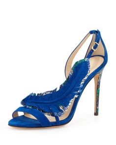 Suede and python feather sandal by Alexandre Birman. Ole!