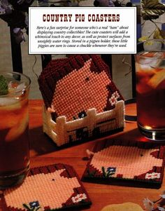 country pig coasters in plastic canvas