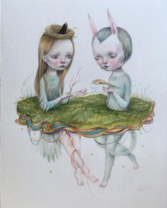 """Just finished. """"Litha"""" mixed media on arches watercolor paper. Adopted. I think I will make prints of this one, and if you think it's a good idea comment bellow.  #litha #hifructose #popsurrealism #newcontemporaryart #newcontemporary #magicrealism #dilka #dilkabear #watercolor #colorpencils #artist #artonistagram"""