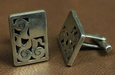 $145    Distinctive Overlay Cuff Links, Jewelry by  Mexican, unknown artisan