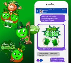 Let's have some fun! Download the Bubblelingo App and get your St. Patrick's stickers now! At Google Play & iTunes! Google Play Store: https://play.google.com/store/apps/details?id=com.bubblelingo.bblapp&hl=en App Store: https://itunes.apple.com/us/app/free-texting-meme-builder-by-bubblelingo/id1084655999?mt=8 #StPatricksStickers #StPatricksDay #holiday #contentcreator #apps #messaging #Android #iPhone #GooglePlay #iTunes
