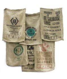 Site that sells burlap in many forms, including used burlap sacks from around the world.