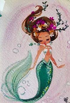 Credit to Liana Hee Unicorns And Mermaids, Mermaids And Mermen, Fantasy Mermaids, Real Mermaids, Mermaid Drawings, Art Drawings, Mermaid Paintings, Mermaid Tale, Merfolk