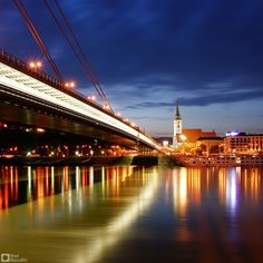 Color of night--St. Martin's Cathedral and the new bridge in Bratislava, the capital of Slovakia ...