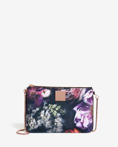 Shadow Floral canvas clutch bag - Black | Bags | Ted Baker