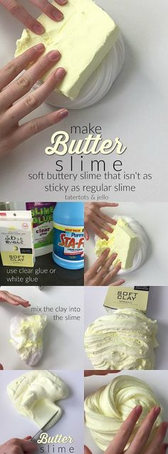 Butter Slime, It's slime with a softer, buttery consistency.Make Butter Slime, It's slime with a softer, buttery consistency. Masa Slime, Le Slime, Soap Slime, Diy For Kids, Crafts For Kids, Kids Fun, Slime Craft, For Elise, Slime Shops