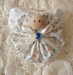 Homemade Angel Christmas Ornaments | Christmas Angel Pins Handmade Fabric Yoyo by HillbillyLaceEtc
