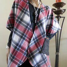www.terrirdesigns.com Red & Black Plaid Kimono Cardigan with Pocket/Cover Up Kimono/Boho Kimono/Lightweight Jacket/Poncho/Cocoon Cardigan/Plus Size Kimono/Ruana So Cute! Looks even better in person! Cocoon Cardigan, Kimono Cardigan, Plus Size Kimono, Boho Kimono, Red And Black Plaid, Lightweight Jacket, Fall Outfits, Cover Up, Pocket