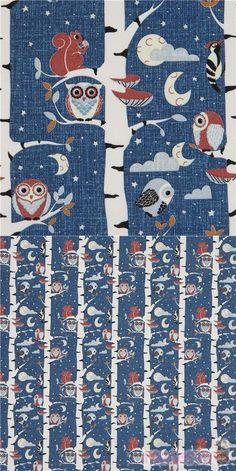 Stof Fabrics dark blue fabric with owls in birch trees Owl Fabric, Blue Fabric, Cotton Fabric, Woodpeckers, Modes4u, Birch Trees, Squirrels, Hush Hush, Owls