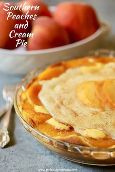 Easy Southern Peaches and Cream Pie incorporates the most delicious aspects of peach cake, peach cobbler, peach cheesecake, and peach pie into one luscious dessert! via (mini fruit pizza bar) Köstliche Desserts, Dessert Recipes, Pie Dessert, Fruit Recipes, Healthy Recipes, All You Need Is, Peach Cheesecake, Peach Cake, Salty Cake