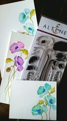 Love this new line of stamps. Here is a watercolored card using Altenew new stamp set.