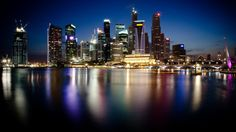 Singapore Night City Lights Water Buildings Wonderful HD Wallpaper