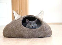 Pets bed / Cat bed cat cave cat house eco-friendly por AgnesFelt