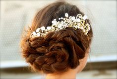 Custom Three Piece Bridal Hair Comb Keltie by DolorisPetunia. Gorgeous headpiece headband for wedding,  hairstyle too - just perfect!