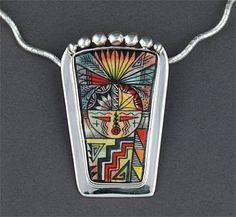 Silver & Ceramic Pendant by Allen Aragon (Navajo)
