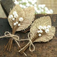 Rustic Burlap Leaf and Pearl Berry Boutonnieres - Corsage + Boutonniere Supplies - Floral Supplies - Craft Supplies Burlap Lace, Burlap Flowers, Diy Flowers, Fabric Flowers, Paper Flowers, Lace Ribbon, Summer Flowers, Rainbow Flowers, Orange Flowers