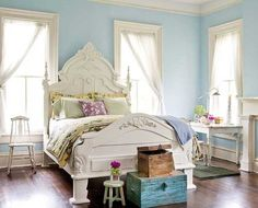 Pale Blue Bedroom Ideas   White and blue bedroom colors, white furniture, light blue interior ...