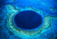 Great Blue Hole: This underwater sinkhole, a system of limestone caves that was flooded after the last ice age, lies 60 miles off the coast of Belize in Lighthouse Reef. The almost perfectly circular hole is more than 1,000 feet across and 400 feet deep, with otherworldly stalactites and limestone formations along its walls.