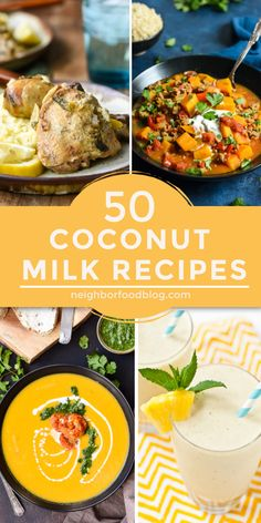 Curious what to do with that can of coconut milk in your pantry? These 50 recipes for dinners, breakfasts, and desserts all use creamy and refreshing coconut milk. Save this post for the next time you need to use up leftover coconut milk! Recipes Using Coconut Milk, Coconut Milk Uses, Cooking With Coconut Milk, Healthy Dessert Recipes, Veggie Recipes, Beef Recipes, Cooking Recipes, Healthy Dinners, Dip Recipes