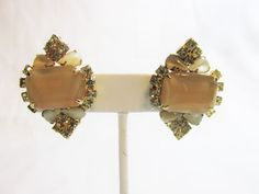 Stunning Vintage Glass Moonstone/Lemon Yellow Rhinestone Clip Earrings