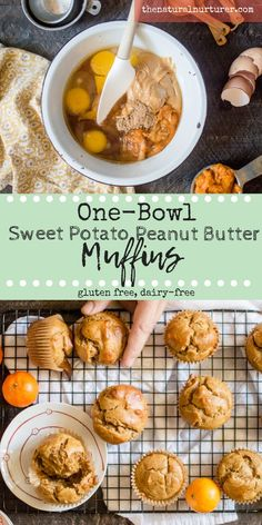 One-Bowl Sweet Potato Peanut Butter Muffins are easy peasy to whip up and a delicious way to get vitamin-rich sweet potato into your family's bellies. Paired with delicious peanut butter and made with just 8 real food ingredients, these muffins make the p Baby Food Recipes, Cooking Recipes, Healthy Recipes, Sweet Potato Recipes Healthy, Healthy Foods, Free Recipes, Sweet Potato Toddler Recipes, Easy Healthy Snacks, Yummy Recipes