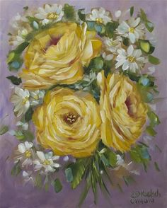 """Daily Paintworks - """"Yellow Roses"""" by Bobbie Koelsch"""