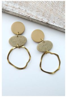 Sun Catcher Statement Earring Minimalist Jewelry Neutral TRANSLUCENT STONE COLLECTION Handmade Clay Earrings Lightweight