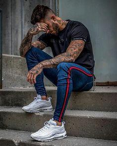 Stripe Ripped Jeans For Men Hip Hop Super Skinny Jeans Elastic – myshoponline…. - Dress World for Men Mode Streetwear, Streetwear Fashion, Style Brut, Urban Fashion, Mens Fashion, Street Fashion, High Fashion, Hip Hop, Moda Blog