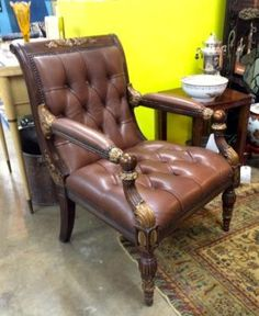 Theodore Alexander Leather Chair   Dealer #1924  $485  Lucas Street Antiques Mall 2023 Lucas Dr.  Dallas, TX 75219  Located close to Dallas' Design District within walking distance of the Wo