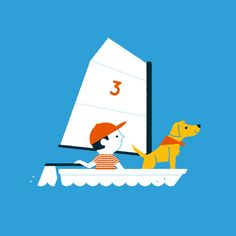 Sailing by Ben Aslett #illustration #art #sailing #nautical #Kids #adventure