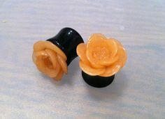 """19/16"""" 14mm Glossy Blooming Rose Flower Plugs  by PerfectionPetals, $20.00"""