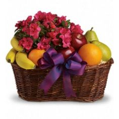Fruit meets flowers in this delicious arrangement! Brightened by a potted azalea plant, this fruit gift basket is a yummy choice packed with apples.
