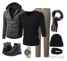 """""""Men's Winter Fashion"""" by keri-cruz ❤ liked on Polyvore featuring Uniqlo, TheLees, Kenneth Cole, Sperry Top-Sider, Burberry, Scoop and Black & Brown London"""