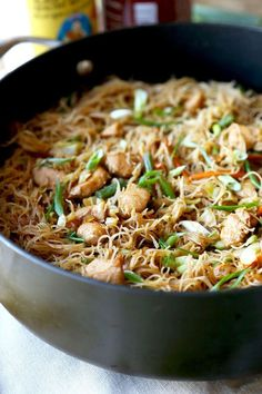 Pancit Recipe (Filipino dish) -- Sweet and savory Filipino Pancit Recipe with chicken & vegetables - stir fried in dark soy & oyster sauce. Yummy noodles ready in 25 minutes! Chicken Vegetable Stir Fry, Chicken And Vegetables, Filipino Pancit, Filipino Food, Filipino Noodles, Filipino Pasta Recipe, Pancit Bihon Recipe, Easy Asian Recipes, Ethnic Recipes