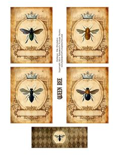 Ephemera's Vintage Garden: Free Printable (personal use only) - Queen Bee Cards With Belly Band