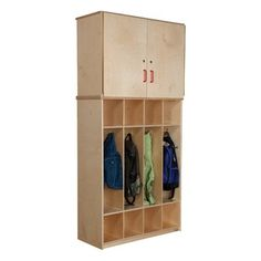 """Wood Designs Coat Locker with Storage Cabinet - GREENGUARD'""""® Children & Schools certified. Made with Heatlhy Kids""""€ž"""" plywood and our exclusive Tuff-Gloss""""€ž"""" UV finish. Vertical storage unit with coat locker base. Preschool Cubbies, Kids Locker, Locker Ideas, Home Lockers, Mudroom Cabinets, Locker Designs, America Furniture, Personal Storage, Classroom Furniture"""