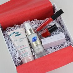 Glossybox October 2015  $21.00  [My LAST box. They've been a huge disappointment.]  **NUXE Gentle Exfoliating Gel with Rose Petals – FULL SIZE Value $26  **PHYTO Repairing Thermal Protectant Spray – 1 oz Value $7  **De Bruyere Paris Red Lipgloss – FULL SIZE Value $17  **LOLLIPOPS Paris Nail Polish in Voyage a Paris – FULL SIZE- Value $10   **La Roche-Posay Redermic [R] - value $9.12