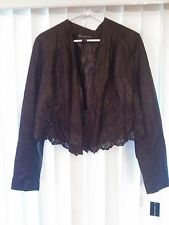 NWT INC Women  See-through Open Front Lace Jacket  Brown Large