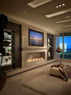 Narrow Living Room, Living Room Tv, Living Room With Fireplace, Living Room Modern, Living Room Designs, Small Fireplace, Small Living, Apartment Living, Elegant Home Decor