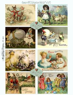 VINTAGE EASTER Printable Tags DIGITAL Atc Aceo Collage Sheet Download and Print Paper Crafts Card 502a