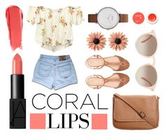 """""""Coral"""" by mer-aki ❤ liked on Polyvore featuring beauty, NARS Cosmetics, Wet Seal, Zara, mae, Skagen and Korres"""
