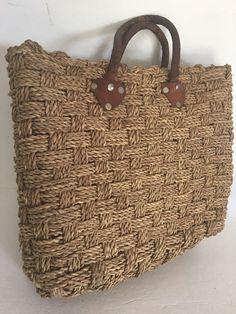 2c05b4b7a Vtg Boho Woven Straw Beach Tote Bucket Basket Leather Hand Bag Purse  Festival XL | eBay