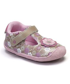 Look at this Stride Rite Pink & Brown Crawl Bonnie Blossom T-Strap Shoe on #zulily today!
