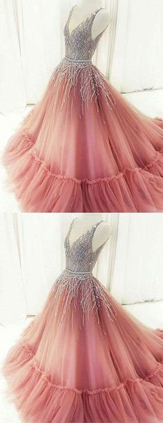 Unique A-Line V-Neck Pink Tulle Long Prom/Evening Dress with Beading,464