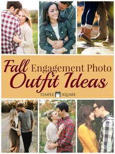 I LOVE fall engagement photos!! These outfit ideas are super cute - keep these in mind when he pops the question! | engagement pictures | photography | outfits | dress | plaid | announcement | wedding planning | wedding ideas | www.templesquare.com/weddings/blog